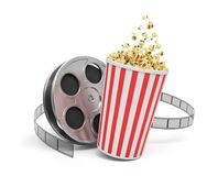 3d rendering of a video reel with video film stretching around a big bucket full of popcorn. Watching movies. Leisure and culture. Video art Royalty Free Stock Photo