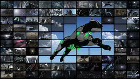 3d rendering. Video wall with futuristic panther. A 3D illustration of a video wall. A large media image screen which shows many small monitors with a futuristic stock illustration