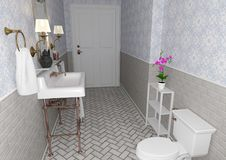 3D Rendering Vintage Bathroom stock images