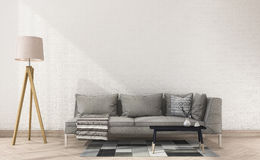 3d rendering vintage fabric sofa with cloth near white brick wall and lamp. 3d rendering interior and exterior design Stock Photography