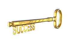 3D rendering of a vintage golden key with success on white. Background Stock Photography