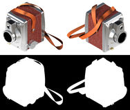 3D rendering vintage professional camera  on white backg. Round include black Stock Photography