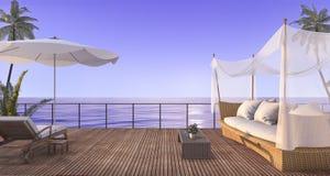 3d rendering vintage rattan sofa on wood terrace near sea in twilight scene Royalty Free Stock Photo