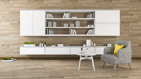 3d rendering vintage wood wall living room with shelf built in Royalty Free Stock Photos