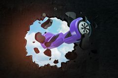3d rendering of violet hoverboard breaking black wall royalty free stock image
