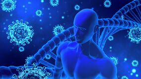 3D Rendering Virus/COVID-19, Human/AI Body and DNA helix Model Rotating in Abstract Blue Background
