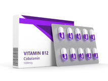 3d rendering vitamin B12 pills in blister. Over white background. Concept of dietary supplements Royalty Free Stock Images