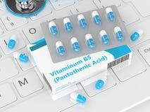 3d rendering of  vitamin B5 pills Stock Images