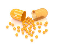 3d rendering vitamin D capsule lying on white Royalty Free Stock Photo