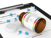 3d rendering of vitamin pills with bottle Stock Photos