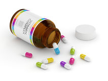 3d rendering of vitamin pills with bottle Stock Photography