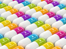 3d rendering of vitamin pills in row Royalty Free Stock Image
