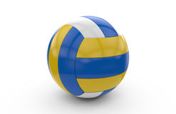 3D rendering of a volley ball. Volley ball with blue, yellow and white texture: 3D rendering Stock Photography