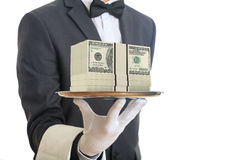 3d rendering waiter offering 100 dollar banknotes. In a tray stock illustration