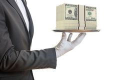 3d rendering waiter offering 100 dollar banknotes. In a tray Royalty Free Stock Photos