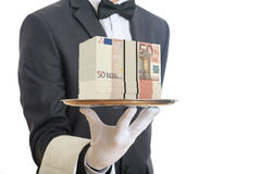 3d rendering waiter offering 50 euro banknotes. In a tray Royalty Free Stock Photography