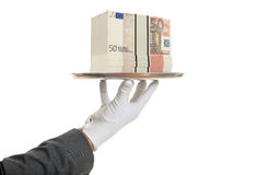3d rendering waiter offering 50 euro banknotes. In a tray Stock Image