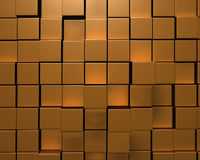 3D Rendering of Wall of Uneven Gold Tiles Stock Photos