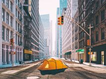Wanderlust in a big city. camping concept. 3d rendering Stock Photo