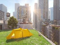 Wanderlust in a big city. camping concept. 3d rendering Royalty Free Stock Photos