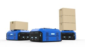 Warehouse robot carry boxes Stock Image