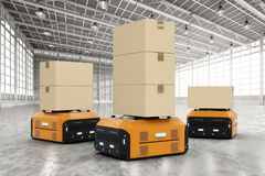 Warehouse robots carry boxes Stock Photos