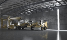 3d rendering warehouse with tractor and logistic concept Stock Photos