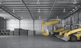 3d rendering warehouse with tractor and logistic concept and material construction Stock Photos