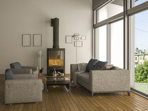 3d rendering warm living room with sofa Royalty Free Stock Images