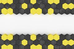 3d rendering of warning hazard hexagon pattern in yellow and bla Stock Image