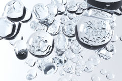 3D Rendering Of Water Bubbles. Closeup Stock Image