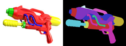 3D rendering of Water gun  on white background Stock Images
