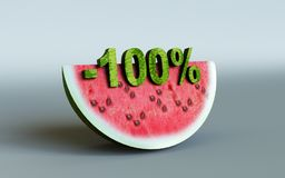 Watermelon and 100%. 3D rendering; watermelon and 100 Stock Images