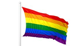 3d rendering waving flag in rainbow colors Stock Photography