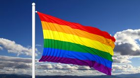 3d rendering waving flag in rainbow colors Royalty Free Stock Image