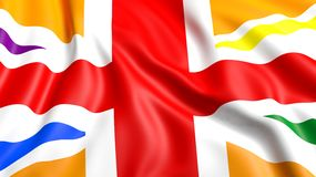 3d rendering waving UK  flag with rainbow colors Royalty Free Stock Photo