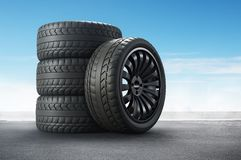 3d rendering Car tires on background. stock photography