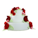 3D Rendering Wedding Cake on White. 3D rendering of a wedding cake with red roses isolated on white background Royalty Free Stock Photos