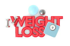 3d rendering of weight loss text with dumbbells, weight scale. And exercise ball over white Stock Images