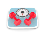 3d rendering of weight scale and dumbbells over white. 3d rendering of weight scale and dumbbells isolated over white background Royalty Free Stock Photography
