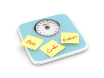 3d rendering of weight scale with notes. Isolated over white background Stock Image