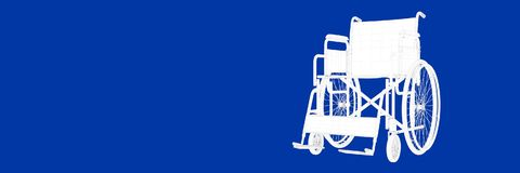 3d rendering of wheel chair on a blue background blueprint. Shape Royalty Free Stock Image