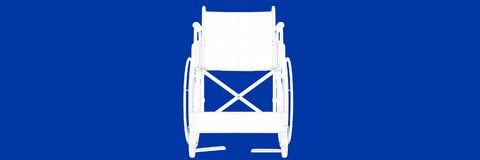 3d rendering of wheel chair on a blue background blueprint. Shape Royalty Free Stock Photos