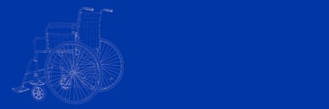 3d rendering of wheel chair on a blue background blueprint. Shape Stock Photos