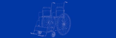 3d rendering of wheel chair on a blue background blueprint. Shape Royalty Free Stock Images