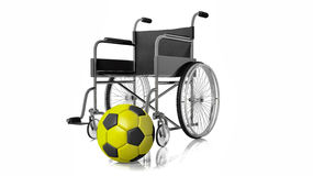 3D rendering of wheelchair with football Stock Images