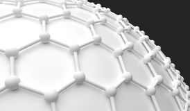 White Abstract Network Connections Sphere. 3D Rendering Of White Abstract Network Connections Sphere Closeup Stock Image