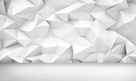3d rendering of a white background with geometric cubic shapes above a white even floor. Backgrounds and patterns. Abstract shapes. Geometry and cubism Royalty Free Stock Photo