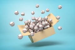 3d rendering of white baseball balls bursting out of carton box on blue background