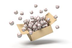 3d rendering of white baseball balls bursting out of carton box
